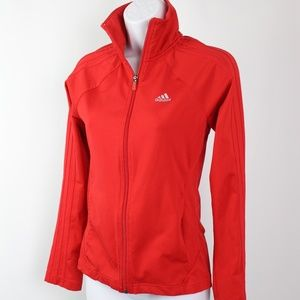 adidas red track jacket red stripes full zip